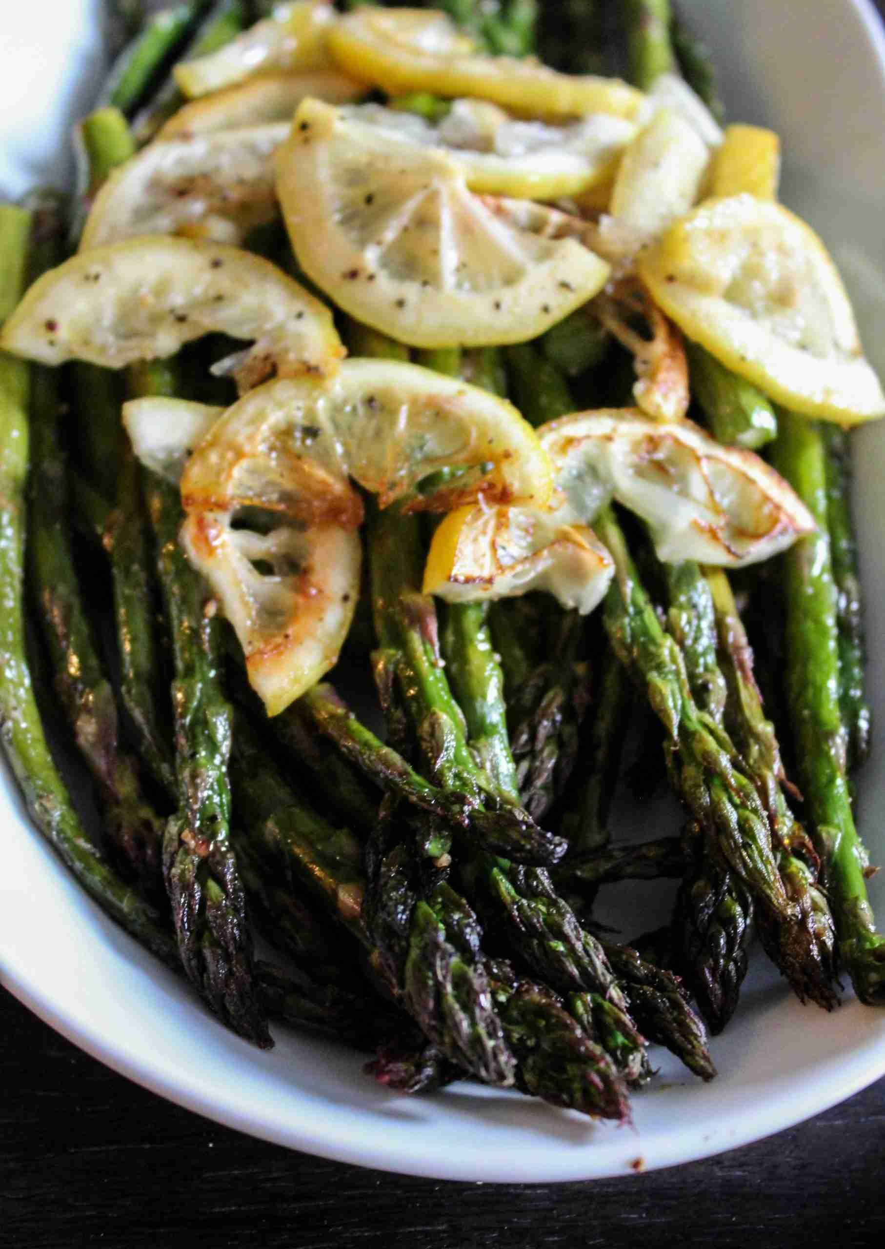 Grilled Asparagus with Creamy Sweet Potato Sauce and Crispy Rosemary